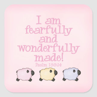 Fearfully and Wonderfully Made - Pink Square Sticker