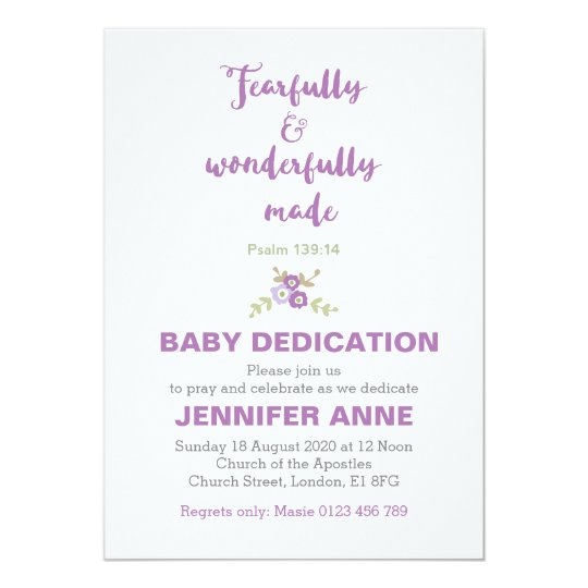 Fearfully Wonderfully Baby Dedication Invite