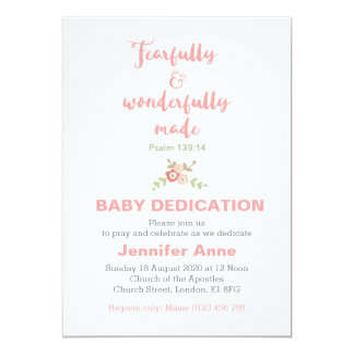 Dedication cards greeting photo cards zazzle fearfully amp wonderfully baby dedication invite stopboris Image collections
