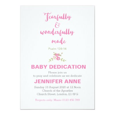 fearfully wonderfully baby dedication invite zazzle com