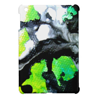Fearless abstract painting black white green case for the iPad mini