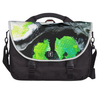 Fearless abstract painting black white green laptop commuter bag