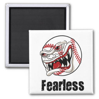 Fearless Baseball 2 Inch Square Magnet