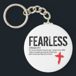 """FEARLESS-JEREMIAH 29:11 KEYCHAIN<br><div class=""""desc"""">Always keep your favorite verse close to you. Be a witness with this bold design. Jeremiah 29:11 proves you can live without fear through Christ.</div>"""