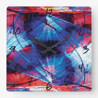 FEARLESS PURSUIT Vibrant Abstract Motion Numbered Square Wall Clock