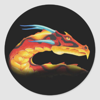 Fearless Red Dragon with Blue Horns Classic Round Sticker