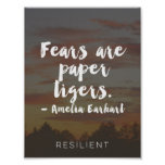 """Fears are Paper Tigers"" Cursive Quote Poster"