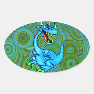 Fearsome Dragon Oval Sticker