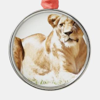 Fearsome lioness ornament