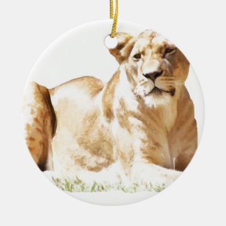 Fearsome lioness christmas tree ornaments