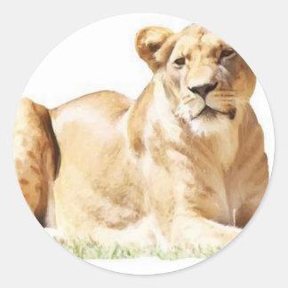 Fearsome lioness classic round sticker