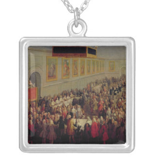 Feast given after the Coronation of Louis XV Silver Plated Necklace