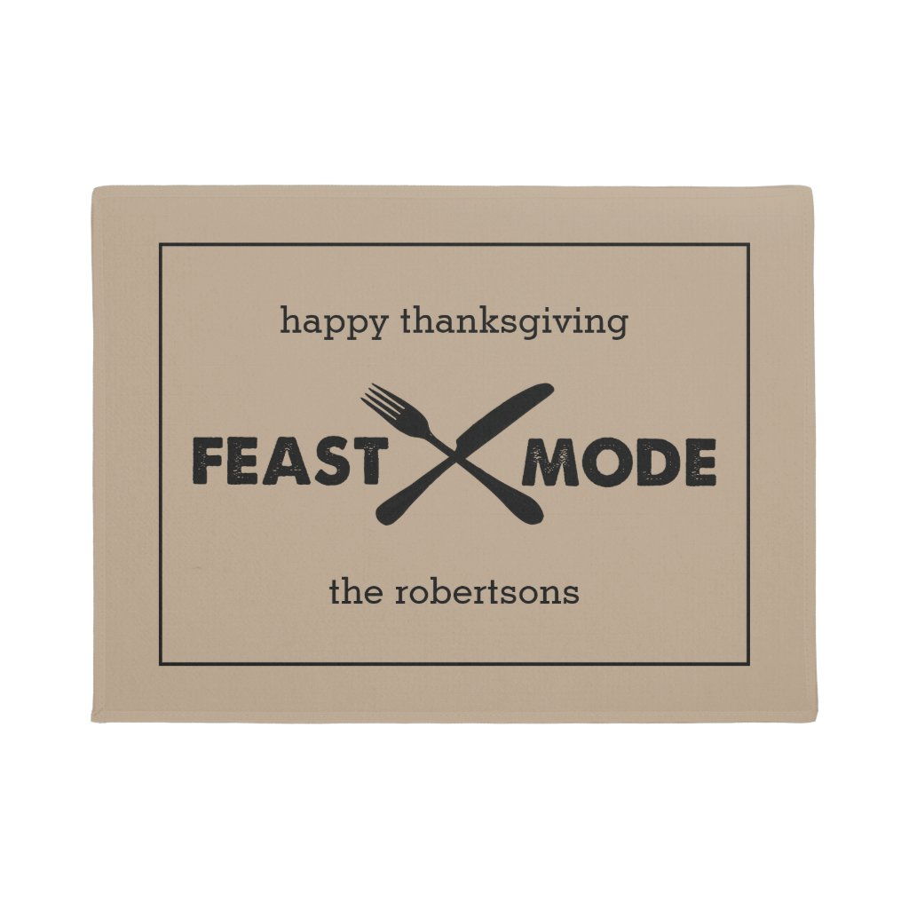 Feast Mode | Modern Tan & Black Thanksgiving Doormat