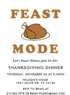 348e69a9 Feast Mode Thanksgiving Dinner Party Invitation