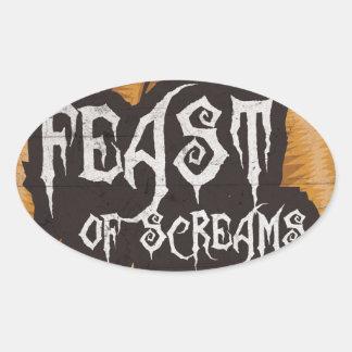 Feast Of Screams Oval Stickers