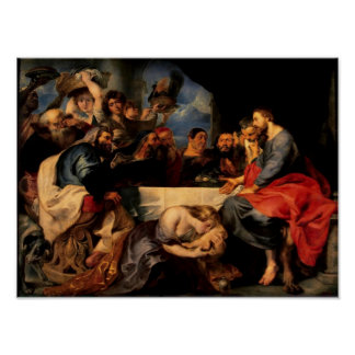 Feast of Simon & Mary Magdalene at Jesus' feet Poster