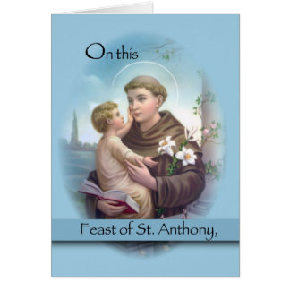 Feast of St. Anthony, Blue Greeting Card