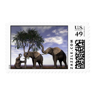 Feast or Famine-Elephants Postage Stamp