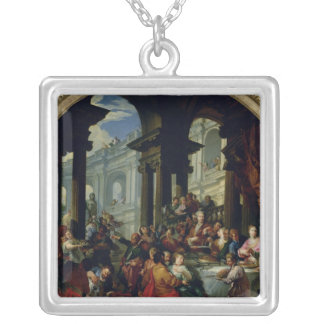 Feast under an Ionic Portico, c.1720-25 Silver Plated Necklace