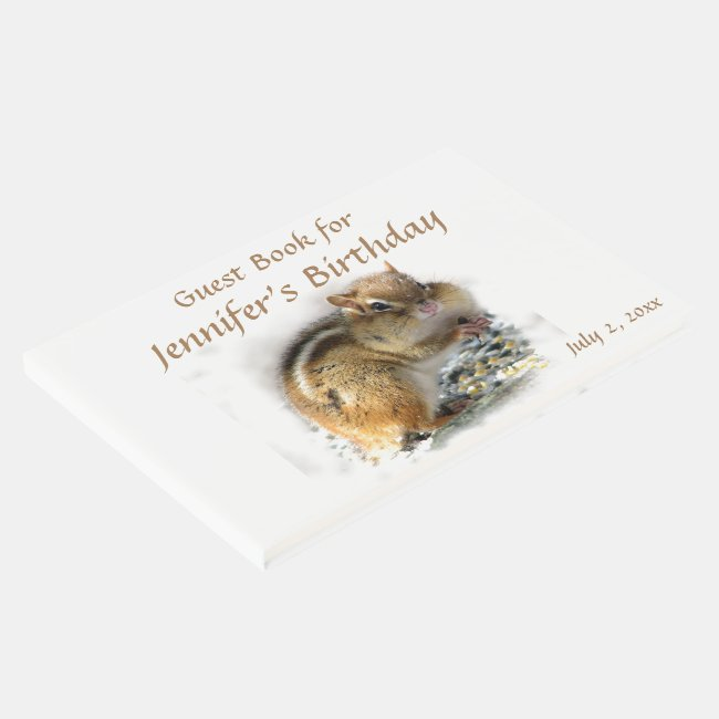 Feasting Chipmunk Animal Birthday Party Guest Book