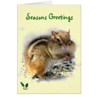 Feasting Chipmunk Seasons Greetings Card