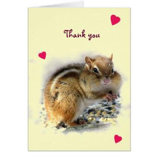 Feasting Chipmunk Thank You Greeting Card