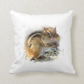 Feasting Chipmunk Throw Pillows
