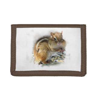 Feasting Chipmunk Tri-fold Wallets
