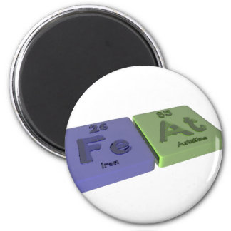 Feat as Fe Iron and At Astatine 2 Inch Round Magnet