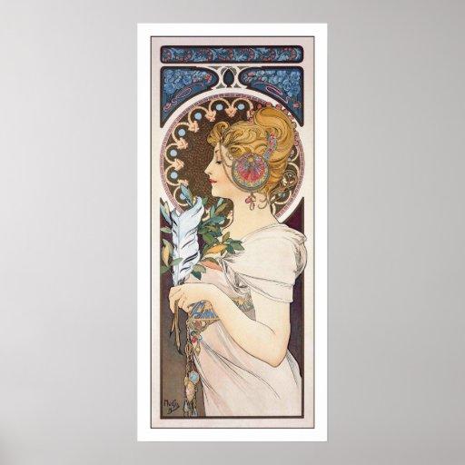 Feather - Alphonse Mucha - Vintage Art Nouveau Print