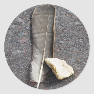 Feather and Stone Round Sticker