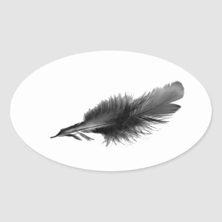 Feather Black Oval Sticker
