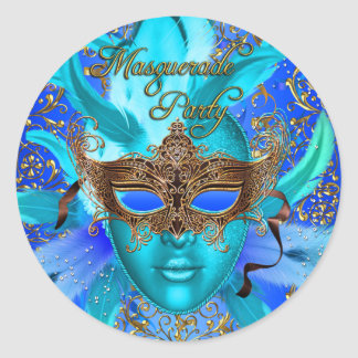 Feather Blue & Gold Masquerade Party Sticker