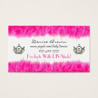 Feather Boa Business Cards with Tiaras