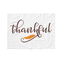 Feather Boho Native Thankful Typography Fleece Blanket