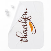 Feather Boho Native Thankful Typography Receiving Blanket