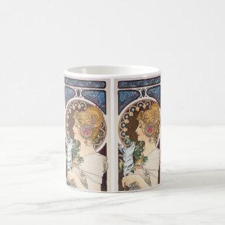 Feather by Alphonse Mucha - Vintage Art Nouveau Coffee Mug