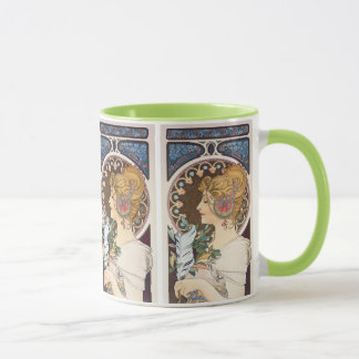 Feather by Alphonse Mucha - Vintage Art Nouveau Mug