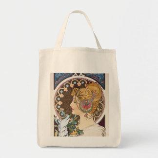 Feather by Alphonse Mucha - Vintage Art Nouveau Tote Bag