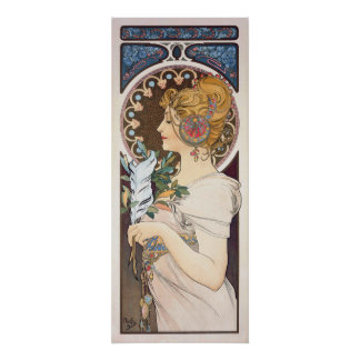 Feather by Alphonse Mucha - Vintage Nouveau Poster