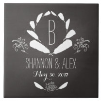 Feather Chalkboard Monogram Wedding Date Ceramic Tile