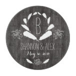 Feather Chalkboard Monogram Wedding Date Cutting Board