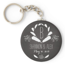 Feather Chalkboard Monogram Wedding Date Keychain