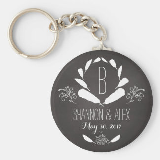 Feather Chalkboard Monogram Wedding Date Keychain