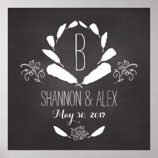 Feather Chalkboard Monogram Wedding Date Poster