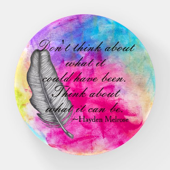Feather Colorful Abstract Boho Whimsical Art Quote Paperweight