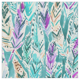 FEATHER DANCE Boho Chic Watercolor Pattern Fabric
