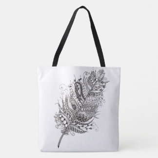 Feather farrowed tote bag