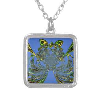 Feather Fish Square Pendant Necklace