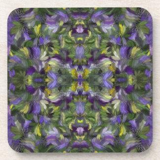 Feather Flowers - Violas Drink Coaster